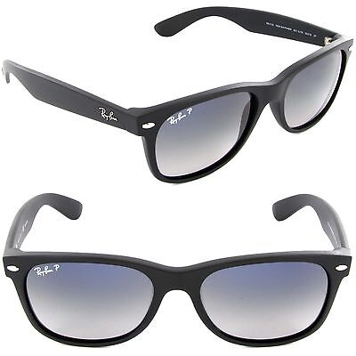 Ray-Ban RB 2132 601S/78 55mm Wayfarer Matte Black / Polarized Blue Gradient Gray