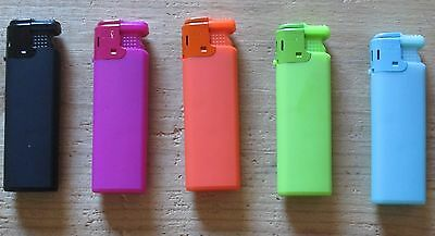 5 x Funky Neon Colour Windproof Flame Lighter - Refillable & Electronic Ignition