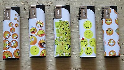 5 x Smiley Face Windproof Turbo Flame Lighters Refillable & Electronic Ignition