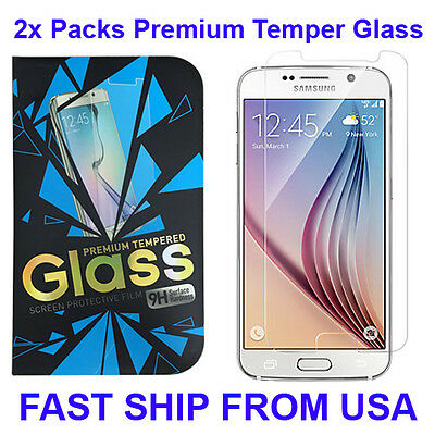 2x New Clear Premium Real Tempered Glass Film Screen Protector for Samsung S7