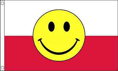 5ft x 3ft (150 x 90cm) Poland Polish Smiley Face Polyester Material Banner Flag