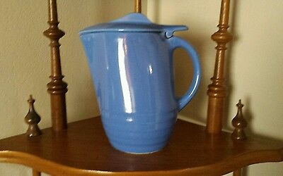 Vintage Mid Century Blue Pottery Coffee Pot W/ Lid Ribbed