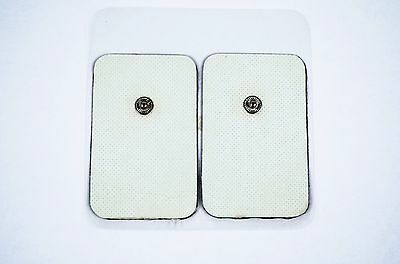 "2""x3"" Replacement Electrode Pads for Digital Massager/Tens Unit with Button 4Pc"