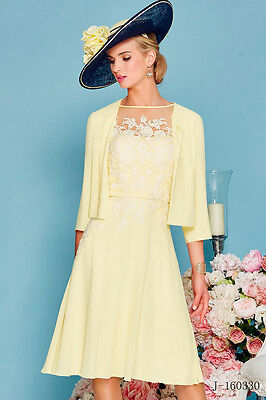 New Chiffon Knee Length Mother Of The Bride Dresses Lace with Short Jacket