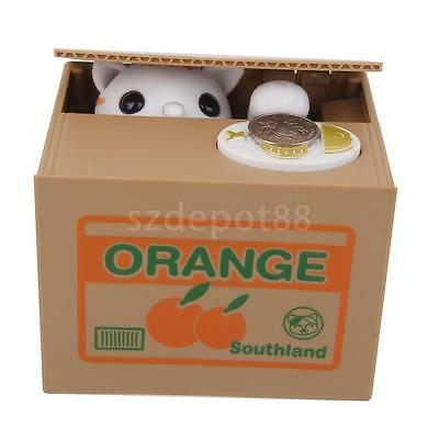Automatic Stealing Coin White Cat Kitty Penny Cents Piggy Bank Saving Box