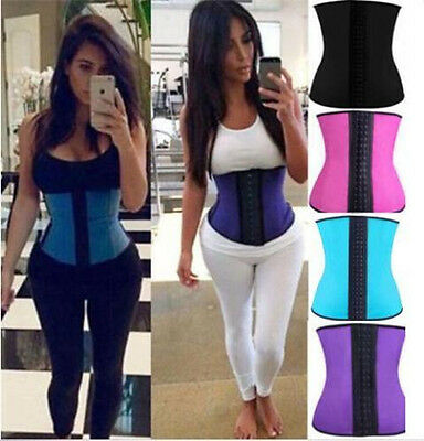 Women Body Shaper Latex Rubber Waist Trainer Cincher Slim Belt Corset Shapewear