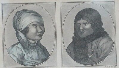 Antique  1831 Woman and Man of Kamtschatka Hand Colored Engraving