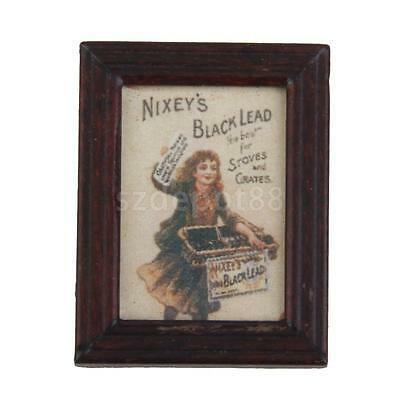Dollhouse Miniature Framed Girl Selling Newspaper Picture Wall Painting 12th