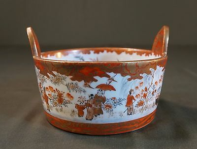 Beautiful Fine Japanese Early 1900 Kutani Pictorial Bowl w Handle Signed