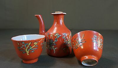 Very Fine Early 1900 Chinese Famille Rose Polychrome Tea Pot & 2 Tea Cups