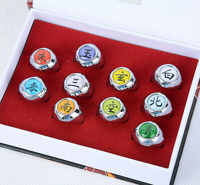 DZ788 Anime Cosplay 10pcs Set Naruto Akatsuki Member's Ring Set Gift with Box ✿