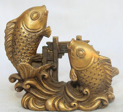 China Chinese Fengshui Brass Foo Fu Two Fish barracuda Pass Dragon Door Statue