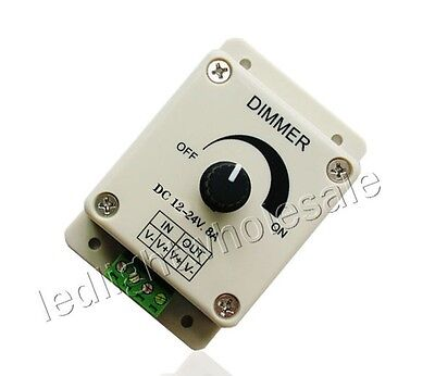 Manual Knob Led Dimmer 12V-24V 8A For 5050 3528 Single Color Led Strip Light DIY