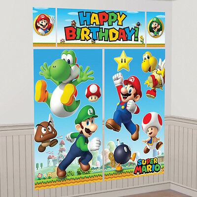 Super Mario Happy Birthday Scene Setter Banner Wall Decoration Party Supplies
