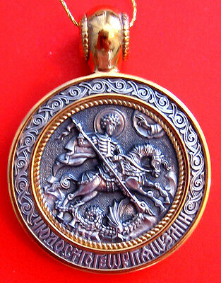 Russian Handmade Pendant St.George And The Dragon Silver 925 Gold 999 #020.14