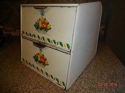 Vintage Metal Kitchen Double Bread Box White With Fruit Decals Two Doors