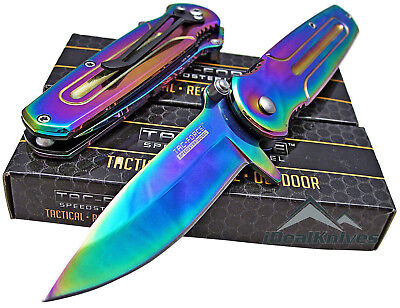 TAC-FORCE Spring Assisted Open RAINBOW TITANIUM Folding Pocket Knife