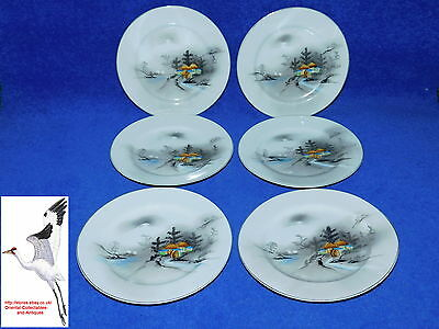 Japanese Porcelain Plate Set x6 Noritake Fine China & Wreath Mark Oriental