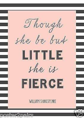 Little Fierce Typography Art Quote Large Poster A0 A1 A2 A3 A4