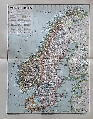 SCHWEDEN NORWEGEN 1897 original historische Landkarte antique map Lithografie