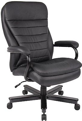 Big Tall Executive Office Chair for Heavy Duty Black Leather Leatherette