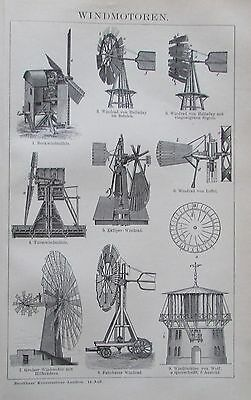 WINDMOTOREN 1895 Original Druck Antique Print Lithographie Brockhaus
