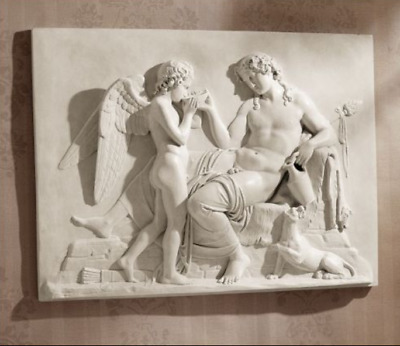 EROS & DIONYSUS WALL FRIEZE SCULPTURE Love Wine Greek Mythology Valentine Art