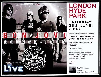 "BON JOVI Official giant sized 40""X30 inch bill poster for UK Hyde Park Concert"