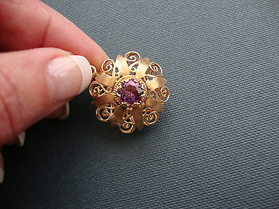 Vintage 14K Yellow Gold Purple Amethyst Pendant Enhancer 10 Grams Two Sided