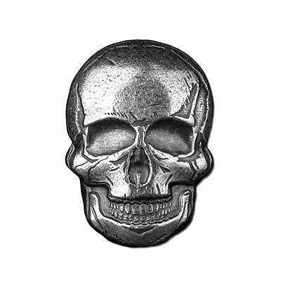 2 oz Monarch Poured Silver Human Skull .999 Ag Art Bar Round - IN-STOCK!!