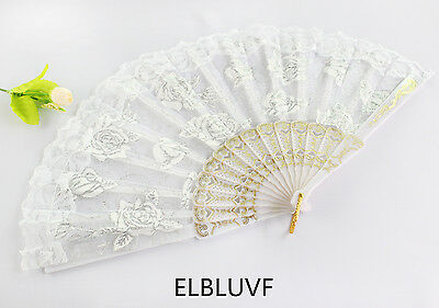 Summer Spanish Flower Floral Fabric Lace Folding Hand Dancing Fan Party Favor