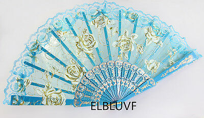 Spanish Blue Flower Floral Fabric Lace Folding Hand Dancing Fan Summer Favor