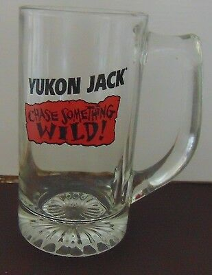 Yukon Jack clear glass mug Chase Something Wild