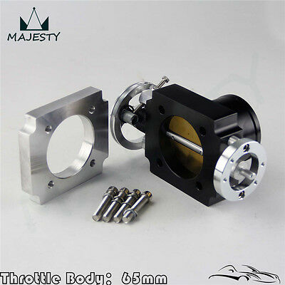 "Universal 65mm 2.5"" Intake Throttle Body CNC Billet High Flow w/ Adapter Plate"