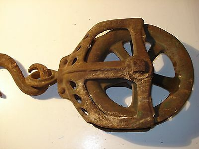 Antique Cast Iron Frame,swivel Hook, Stamped Ok 30 & 80 On Pulley