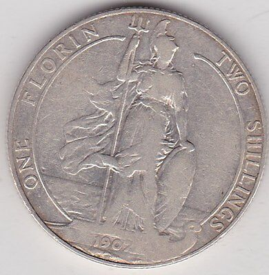 1907 Edward Vii Silver Florin In Used Fine Condition