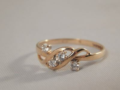 Fully Hallmarked 9CT Yellow Gold Cubic Zirconia Ring  Size K