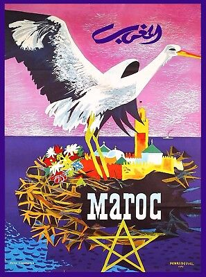 Maroc Morocco Africa African Vintage Travel Advertisement Poster