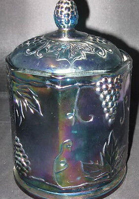 Carnival Glass Grape & Cable Biscuit Jar - Vintage Beauty - Depression Glass Jar