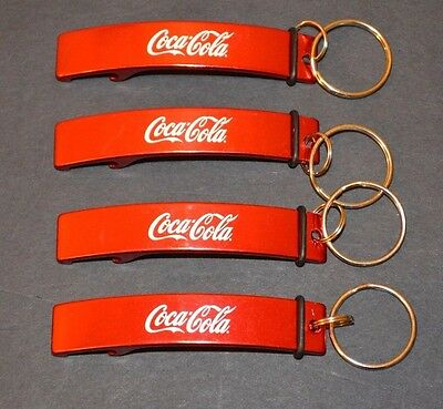 "Lot Of (4) 3"" COCA-COLA Classic Red & White KEY CHAIN BOTTLE OPENER KEYCHAINS"