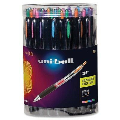 36 Sanford Gel Pen Retractable Uni-Ball 207  Asst Fashion Canister  Pens 40111