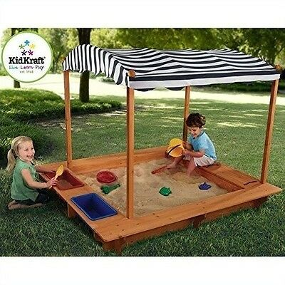 Kids Wood Activity Sandbox Canopy Toys Outdoor Yard Games Furniture Structure