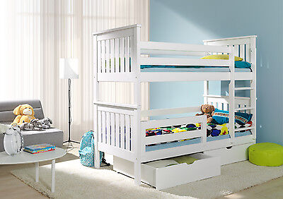 BUNK BEDS WHITE  3ft WOODEN CHILDRENS  WITH MATTRESSES AND  STORAGE DRAWERS