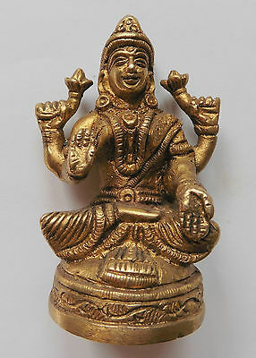 *Beautiful* Lakshmi Brass Hindu Goddess Statue 8cm or 3.12""
