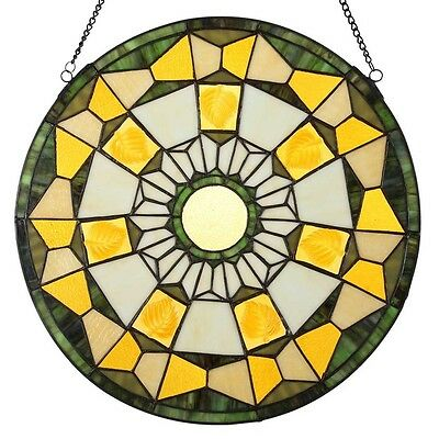 """River of Goods 18"""" Stained Glass Golden Leaves Window/Wall Panel"""