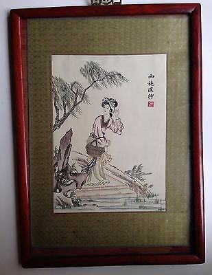 Antique Chinese  Painting on Silk with Embroidery Hand Woven Brocade Woodblock