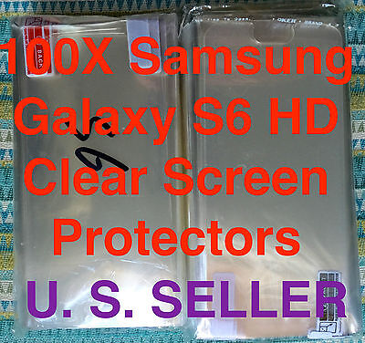 100X Samsung Galaxy S6 HD Screen Protector Glossy HD Shields Lots X100 Wholesale