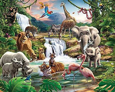 Walltastic Jungle Adventure Wallpaper Mural 8ft x 10ft - Toys Toys NUOVO