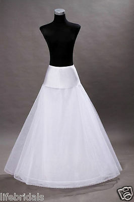 New White 1 Hoop A-Line Bridal Petticoat Crinoline Long Wedding Dress Underskirt