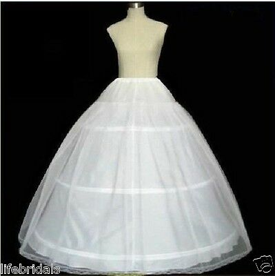 white 3 hoop 1layer petticoat Crinoline Underskirt for bridal wedding dress Gown